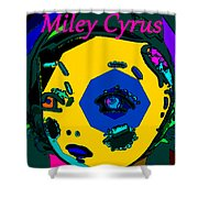 Miley Cyrus At Five With An Attitude Print Shower Curtain