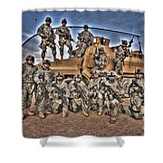 Military Police Pose For This Hdr Image Shower Curtain