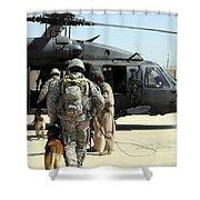 Military Working Dog Handlers Board Shower Curtain