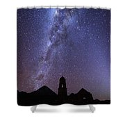 Milky Way Above Ruined Church Tower Shower Curtain