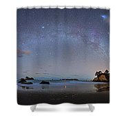 Milky Way At Cathedral Cove Shower Curtain