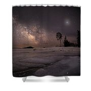 Milky Way At Nautical Twilight Shower Curtain