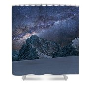 Milky Way On Italian Dolomites Shower Curtain