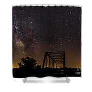Milky Way Over Abandoned Bridge Shower Curtain