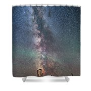 Milky Way Over An Old Ranch Corral Shower Curtain