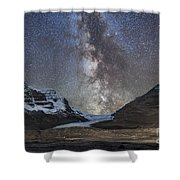 Milky Way Over Athabasca Glacier Shower Curtain