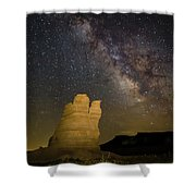 Milky Way Over Castle Rock Shower Curtain