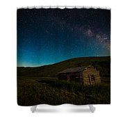 Milky Way Over Log Cabin Shower Curtain