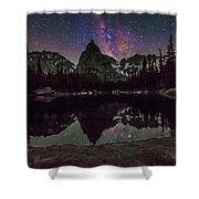 Milky Way Over Lone Eagle Peak And Mirror Lake Shower Curtain