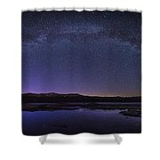 Milky Way Over Lonesome Lake Panorama Shower Curtain