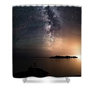 Milky Way Over Mary Island From Silver Harbour Near Thunder Bay Shower Curtain