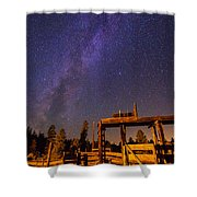 Milky Way Over Old Corral Shower Curtain