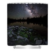 Milky Way Over Pass Lake Shower Curtain