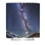 Milky Way Over The Columbia Icefields Shower Curtain