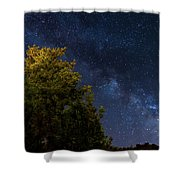Milky Way Over The Forest At The Troodos Mountains In Cyprus. Shower Curtain