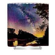 Milky Way Over The Saco River Maine  Shower Curtain