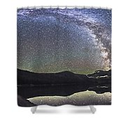 Milky Way Panorama At Cameron Lake Shower Curtain