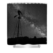 Milky Way Windmill Bw Shower Curtain