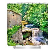 Mill Creek Park Lanterman's Mill And Covered Bridge Shower Curtain