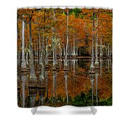 Mill Pond Reflections Shower Curtain