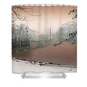 Mill Pond Snow Shower Curtain