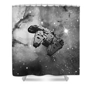 Millennium Falcon And Cosmos Shower Curtain