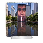 Millennium Park Fountain And Chicago Skyline Shower Curtain