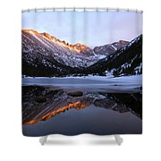 Spring Sunset At Mill's Lake In Rocky Mountain National Park, Colorado, Usa Shower Curtain