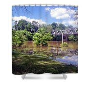 Milnes Bridge At Flood Shower Curtain