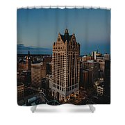 Milwaukee Aerial. Shower Curtain