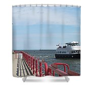 Milwaukee Harbor And Boat Shower Curtain