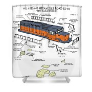 Milwaukee Road Sd-40 Pop-art Shower Curtain
