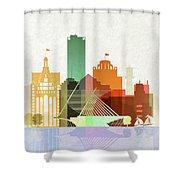 Milwaukee Skyline Color Shower Curtain