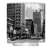 Milwaukee Street Scene B-w Shower Curtain