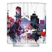 Milwaukee Watercolor Skyline Shower Curtain