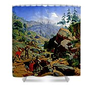 Miners In The Sierras Shower Curtain