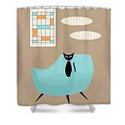 Mini Abstract With Blue Chair Shower Curtain