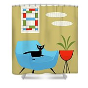 Mini Abstract With Turquoise Chair Shower Curtain
