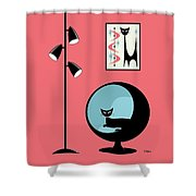 Shower Curtain Mini Atomic Cat On Pink  Shower Curtain