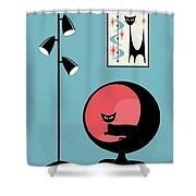 Mini Atomic Cat On Turquoise Shower Curtain