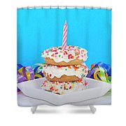 Mini Donut Cake With  Blue Candle By Sheila Fitzgerald Mini Donut Cake With Pink Candle Shower Curtain
