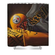 Mini Helmet Commemorative Edition Shower Curtain