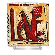 Mini Pop Art Gold Red Love Original Painting By Madart Shower Curtain