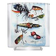 Mini Study- Fishing Lures Shower Curtain