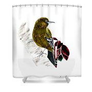 Minimal Bird In Contrast Shower Curtain