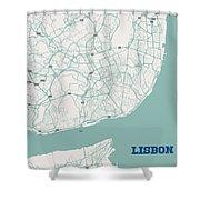 Minimalist Artistic Map Of Lisbon, Portugal 3a Shower Curtain