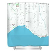 Minimalist Modern Map Of Antalya, Turkey 1 Shower Curtain