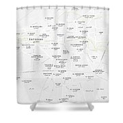 Minimalist Modern Map Of Downtown Damascus, Syria 2 Shower Curtain