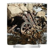Mining Cart Boulder Falls Shower Curtain