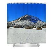 Mining Ruins Foreground A Snowy Mountain Shower Curtain